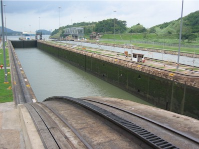 Miraflores Lock at the Panama Canal, looking towards the Pacific